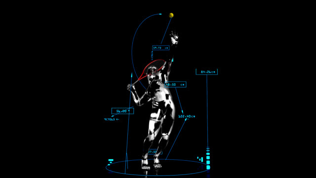 3D tennis man with technical data