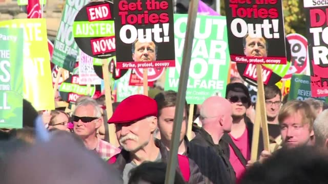 Tens of thousands of anti austerity protesters rallied on Sunday as British Prime Minister David Camerons governing Conservative Party opened its...