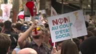 Tens of thousands of French leftists answer a call by firebrand JeanLuc Melenchon to throng the streets of Paris in protest over President Emmanuel...