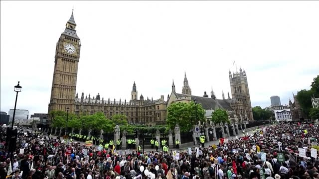 Tens of thousands of people joined an antiausterity march through central London on Saturday the first major public protest since Prime Minister...