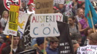 Tens of thousands of protesters against government spending cuts took to the streets of Glasgow Liverpool and London today The antiausterity message...