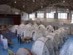 Tents in a hall for tsunami victims in Japan