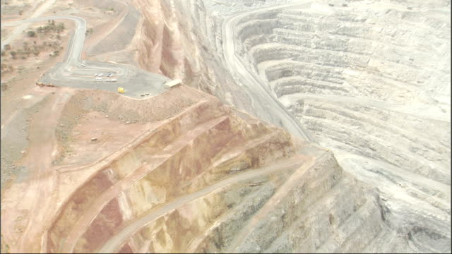 Terraced grooves shape the Super Pit Gold Mine in Western Australia. Available in HD.