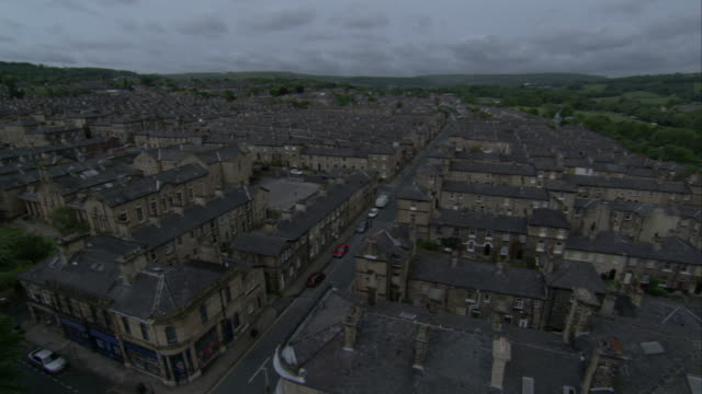 Terraced houses line the streets of Saltaire, England. Available in HD.