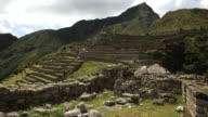 terraces and caretakers hut Machu Picchu timelapse