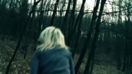 HD: Terrified Young Woman Running In The Forest