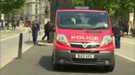 Terror attacks putting increased strain on police force R250517017 / 2552017 EXT Police officers checking manhole and lamp post in Whitehall near...
