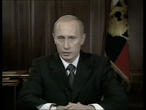 Theatre siege Criticism over gas use/Death toll rises POOL Russian President Vladimir Putin speaking SOT