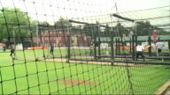 Test career of Kevin Pietersen in doubt after text message row ENGLAND London Lords EXT Shots of England batsmen practising in the nets Group of...