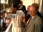 India wins Azharuddin raises Texaco Trophy aloft Indian crowd celebs