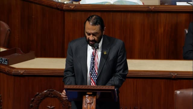 Texas Congressman Al Green reads article 4 of a proposed impeachment resolution against President Donald Trump accusing Trump of being unmindful of...