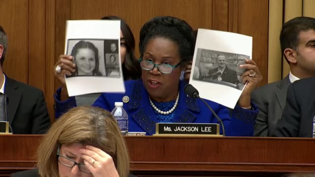 Texas representative Sheila Jackson Lee questions Attorney General Jeff Sessions at an oversight hearing before the House Judiciary Committee about...