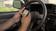 CU Texting on smart phone while driving / Miami, Florida, USA