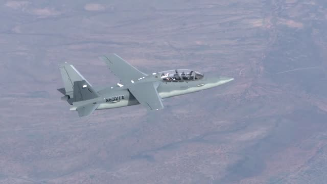 Textron Aviation's Scorpion jet participating in combat mission scenarios in the Light Attack Experiment at Holloman Air Force Base New Mexico The...