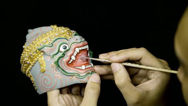 4K Thai Khon Mask (Hanuman) souvenir fine art painting indoor.