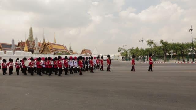 Thai King Maha Vajiralongkorn attends the cremation procession for the late King Bhumibol Adulyadej at Sanam Luang ceremonial ground in Bangkok...