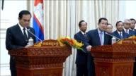 Thai PM Prayut ChanOCha meets with his Cambodian counterpart Hun Sen in the Cambodian capital Phnom Penh