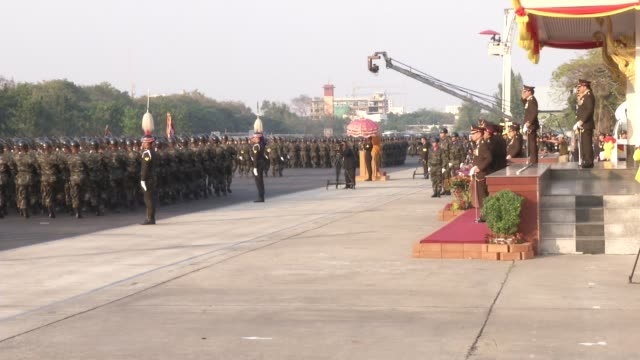 Thai soldiers parade during celebrations of the Royal Thai Armed Forces Day at a military base in Bangkok Thailand Jan 18 2015 Army Commander Udomdej...
