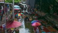 Thailand floating market , Time Lapse movement