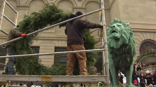 The 23rd annual Wreathing of the Lions at the Art Institute of Chicago on Nov 28 2014