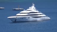 The 91metre long luxury yacht 'Lady Lara' owned by businessman Alexander Machkevitch anchors in Bodrum Port on May 23 2017 in Mugla Turkey