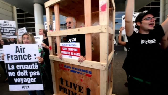 The actor James Cromwell joins activists from PETA at Los Angeles International Airport to protest against Air Frances practice of transporting...