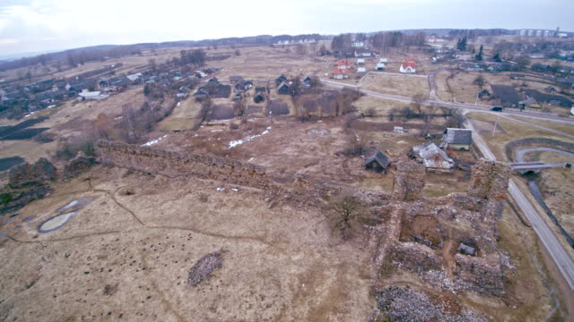 The aerial drone view to the ruined, totally destroyed historic castle in Kreva, Belarus. Was built in 1382. This is the historic place for Belarus, Lithuania and Poland.