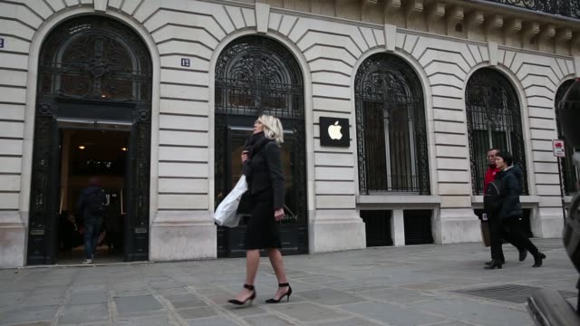 The Apple Store in Paris France on Tuesday Nov 20 2014 close up of the Apple Store sign