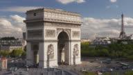 The Arc de Triomphe and Place Charles de Gaulle, Paris.