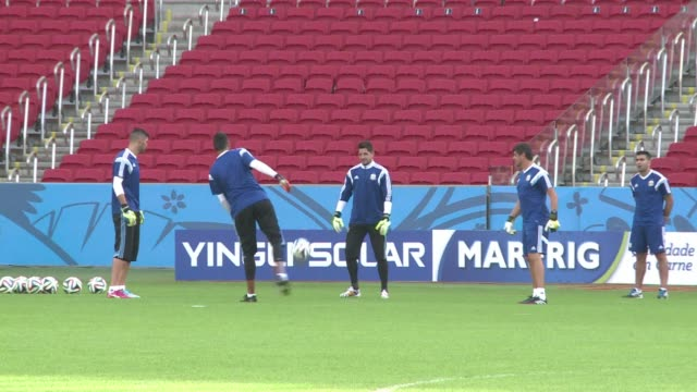 The Argentina squad train in Porto Alegre ahead of their final group match against Nigeria on Wednesday