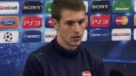 The Arsenal Midfielder looks ahead to his team's Champions League clash against Olympique de Marseille Interview Aaron Ramsey at Emirates Stadium on...
