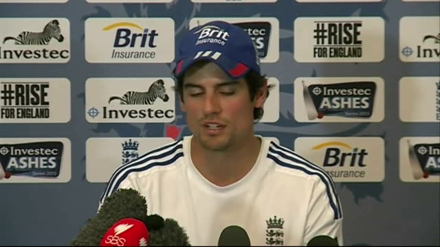 Alastair Cook press conference ENGLAND London Lord's Cricket Ground PHOTOGRAPHY** Alastair Cook press conference SOT [Please note an unseen person...