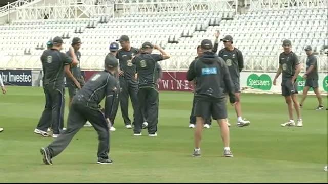 Australia Net Practice ENGLAND Nottingham Trent Bridge General views of Australian Cricket team in training including Darren Lehmann Michael Clarke...