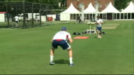 England Net practice ENGLAND London Lord's Cricket Ground EXT Steve Finn along to team / gvs Alastair Cook along into nets to bat / group of players...