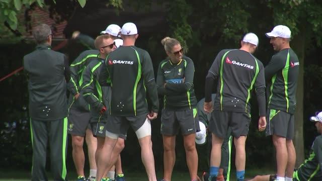 Australia training ENGLAND Hertfordhire Rickmansworth Merchant Taylor's School EXT Various of Australia cricket team warming up on pitch