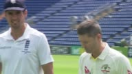 Ashes Urn photocall WALES Cardiff Glamorgan Cricket Ground EXT Alastair Cook holding Ashes Urn / Michael Clarke along / Cook and Clarke posing with...