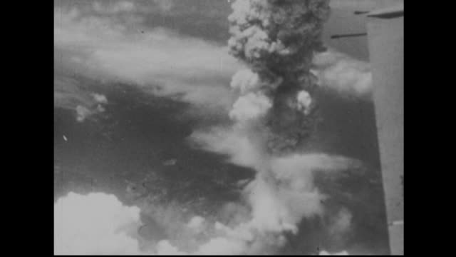 The atomic bomb explodes over Nagasaki