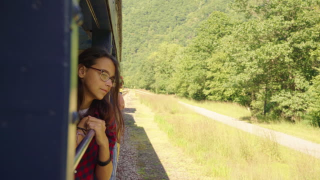 The attractive 15-years-old teenager girl enjoy the train ride through the scenic landscapes.