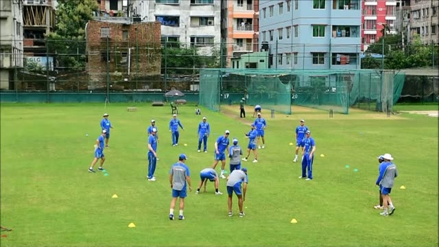The Bangladesh and Australia cricket teams practise ahead of their upcoming Test match