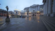 The Bank of England after a rainy evening.