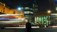 The Bank of England and Threadneedle Street at night.