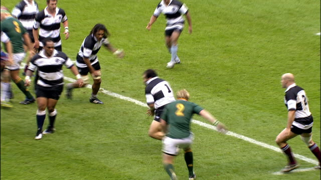 The Barbarians prop up Salvatore Perugini and he bats away a lineout pass by a Springbok Barabarians v Springboks 4th December 2010 Available in HD