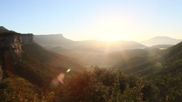 The beautiful valley landscape during the sunrise.