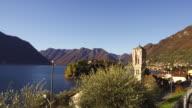 The Bell Tower of Ossuccio near Isola Comacina on the shore of Lake Como