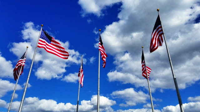 The big group of flying American Flags against the blue sky with bright clouds at the sunny day.