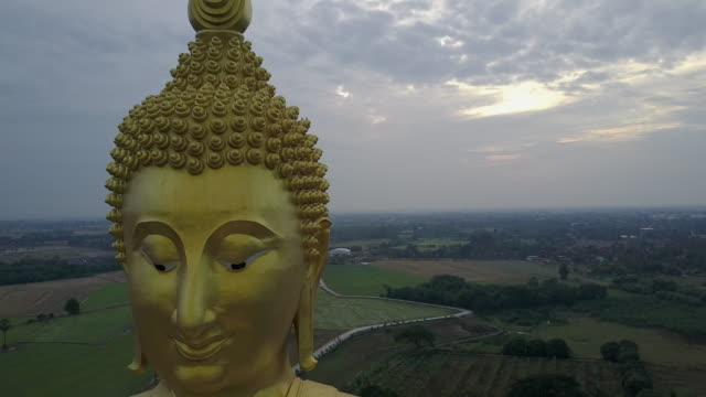 The biggest golden buddha statue at Muang temple, Aungthong Thailand