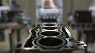 The block for a VW 16MPI petrol automobile engine sits on the assembly line before its cylinders and head are fitted at the Volkswagen Group Rus OOO...