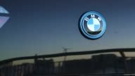 The BMW logo on the BMW i3 in New York City New York on March 17th 2015 Shots Close shots of the BMW logo on the trunk of the car Wide shot of the...