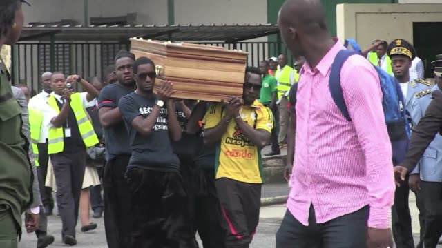 The body of slain Cameroonian footballer Albert Ebosse arrived in Douala Cameroon where a ceremony took place in his memory