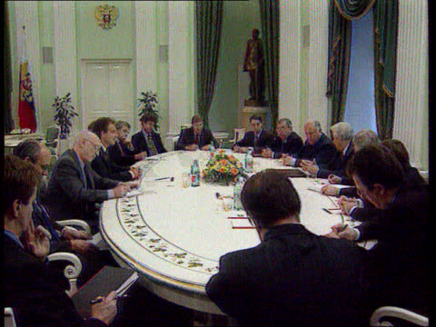 The Boris Yeltsin collection Blair shakes hands with Yeltsin across table in item on Rememberance Day in Russia